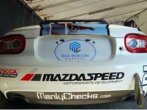 Playboy Mazda Cup Car sponsored my ManlyChecks.com